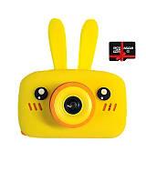 Детский цифровой фотоаппарат Children`s fun Желтый Зайчик Селфи Selfie 40М (YYS) с картой памяти 32 GB