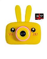 Детский цифровой фотоаппарат Children`s fun Желтый Зайчик 40М Селфи Selfie с картой памяти 32 GB