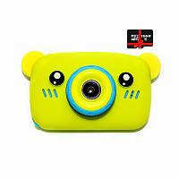Детский цифровой фотоаппарат Children`s fun Желтый Мишка 40М Full HD 1080p (BYM) с картой памяти 32 GB