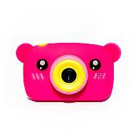Original Детский цифровой фотоаппарат Children`s fun Розовый Мишка 40М Full HD 1080p (PPM)