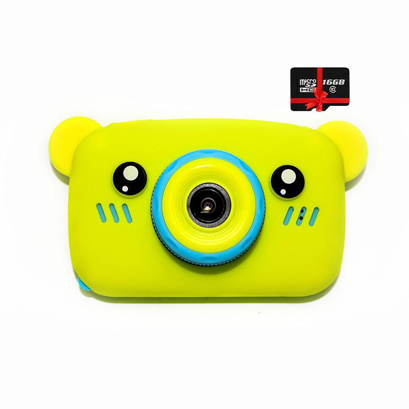 Original Детский цифровой фотоаппарат Children`s fun Желтый Мишка 20Мп Селфи Selfie (BYMS) с картой памяти 32