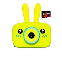 Детский цифровой фотоаппарат Children`s fun Желтый Зайчик 20Мп Селфи Selfie (BYS) с картой памяти 32 GB