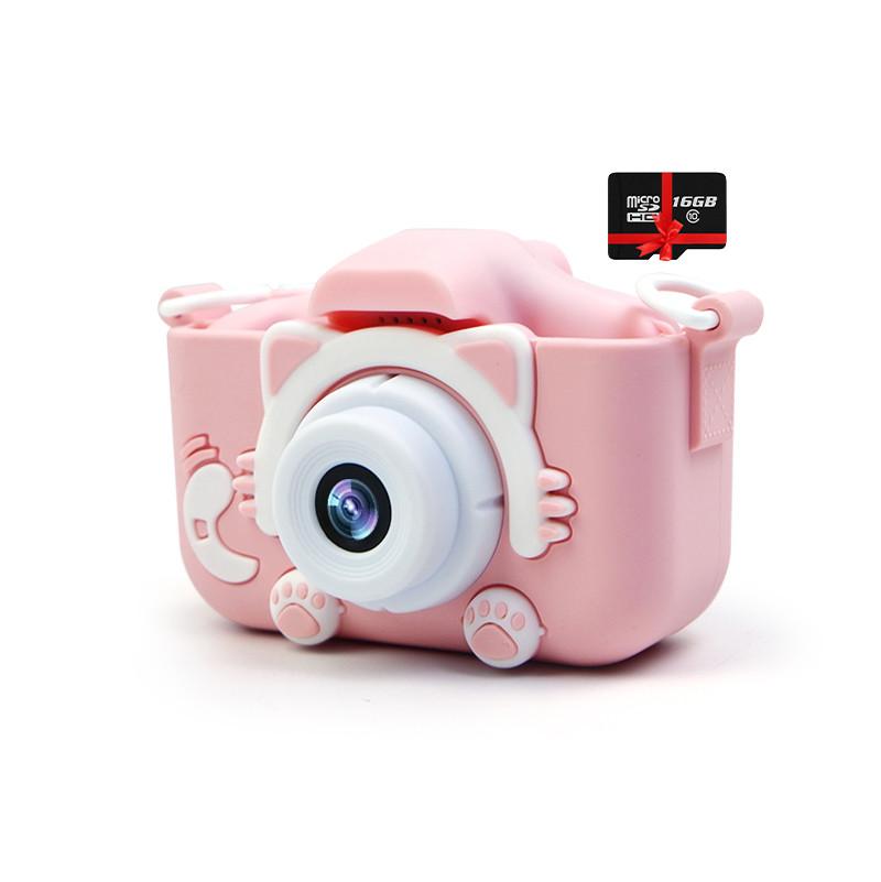Дитячий цифровий фотоапарат children's fun Рожевий Котик 40М Селфи Selfie (РРСЅ) з картою пам'яті 32 GB