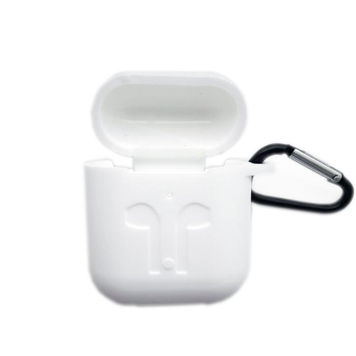 Силиконовый чехол для беспроводных наушников Apple AirPods с карабином Siliconе Case Белый