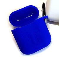 Силиконовый чехол для беспроводных наушников Apple AirPods с карабином Siliconе Case Синий