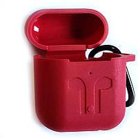 Силиконовый чехол для беспроводных наушников Apple AirPods с карабином Siliconе Case Темно красный