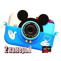 40М фотоаппарат для детей цифровой Микки Маус Синий 2 камеры с картой 32 Гб