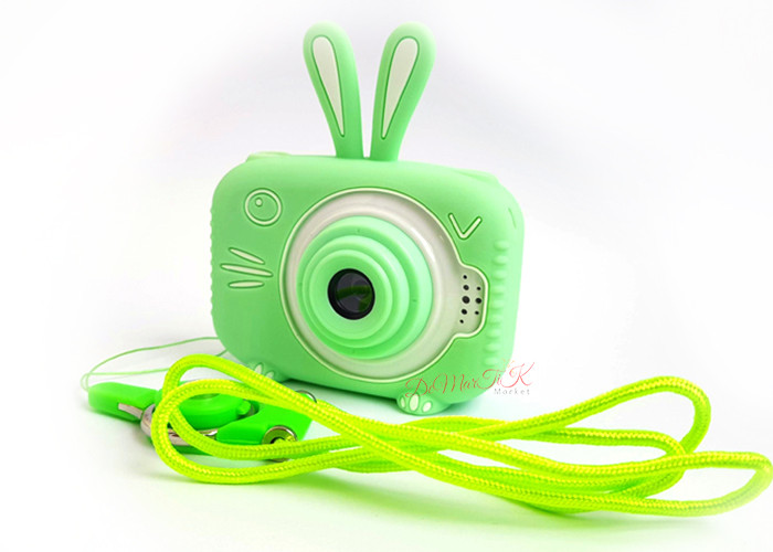 20Мп Дитячий цифровий фотоапарат з фронтальною камерою Зелений Зайчик Люкс children's fun Селфи (SGB)