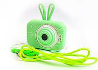 20Мп Детский цифровой фотоаппарат с фронтальной камерой Зеленый Зайчик Люкс Children`s fun Селфи (SGB)