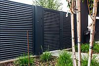 Заборы с металлическими ламелями жалюзи Дабл