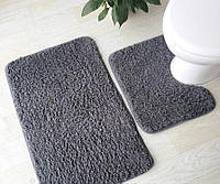 Набор из двух ковриков для ванной комнаты и туалета (серо-синий)