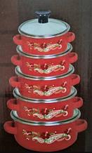 Набор эмалированных кастрюль с стеклянными крышками Swiss Family SF-673EDG Красный Набор 4 кастрюли