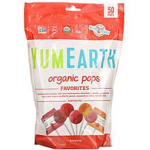 """Органические леденцы YumEarth """"Organic Pops"""" ассорти из 8 вкусов (50 леденцов, 310 г)"""
