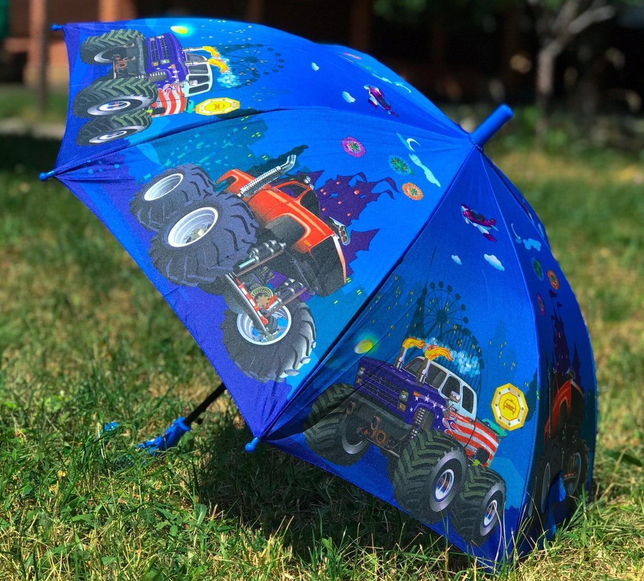Зонт трость детский для мальчика полуавтомат Mario с рисунком «Машинки» на 4-9 лет. Детский зонтик.