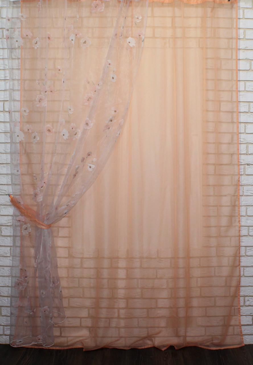 Кухонный комплект. Шторка с гардиной,(1,45х2,55)Цвет персиковый. е917 (381т)