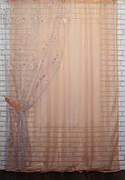 Кухонный комплект. Шторка с гардиной,(1,45х2,55)Цвет персиковый. е917 (381т), фото 1