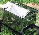 Домашняя коптильня для горячего копчения из нержавейки домик с термометром 400х300х310, фото 2