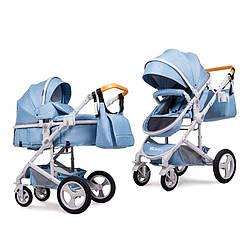 Универсальная детская коляска трансформер Ninos Brava Light Blue 2 в 1