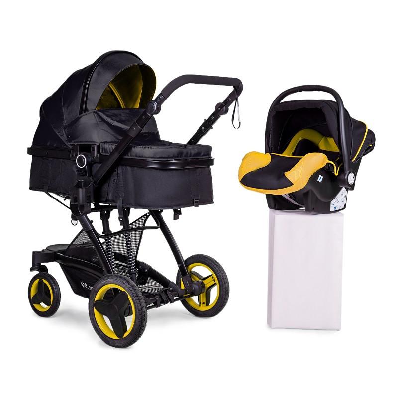 Универсальная коляска трансформер 3в1 + автокресло Ninos Bono Yellow