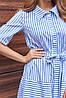 Полосатое летнее длинное свободное женское платье-рубашка с поясом (Нея jd), фото 3