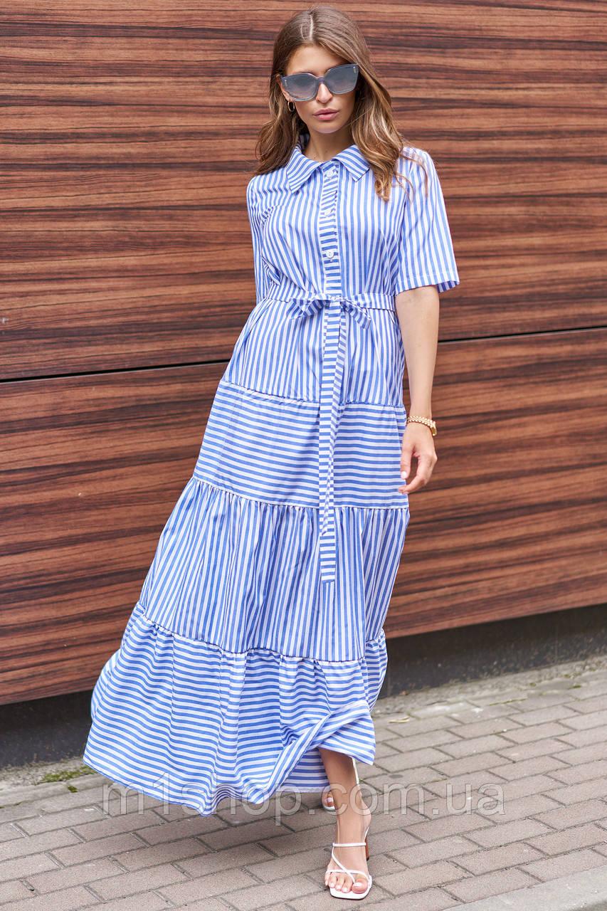 Полосатое летнее длинное свободное женское платье-рубашка с поясом (Нея jd)