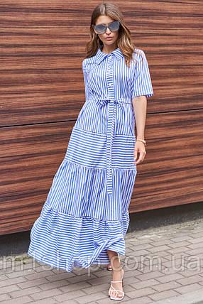 Полосатое летнее длинное свободное женское платье-рубашка с поясом (Нея jd), фото 2