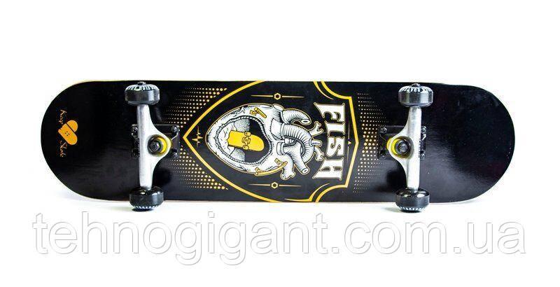 Скейт деревянный, Скейтборд, натуральный канадский клен, для трюков, Fish Skateboards - Сердце, премиум!!!