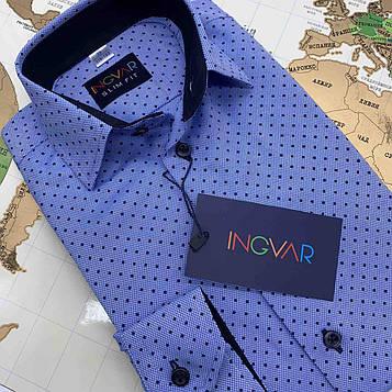 Рубашка детская голубая с принтом и отделкой Н1. INGVAR