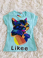 Футболка для девочки котик Лайк Likee Турция Р 2-3, 3-4, 5-6, 7-8, фото 1