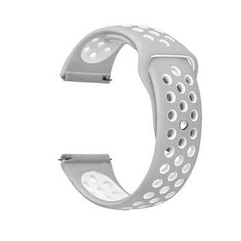 Спортивний ремінець Primolux Perfor Sport з перфорацією для годин Samsung Galaxy Watch 46mm - Grey&White