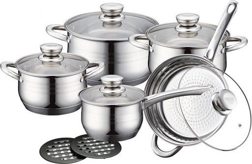 Набор кухонной посуды 10 в 1 royalty line rl-1232 3 кастрюли, сотейник, сковорода