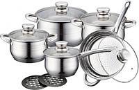 Набор кухонной посуды 10 в 1 royalty line rl-1232 3 кастрюли, сотейник, сковорода, фото 1