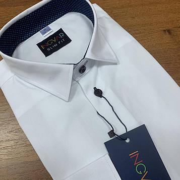 Рубашка детская белая с синей пуговицей и отделкой по стойке 616/20183. INGVAR