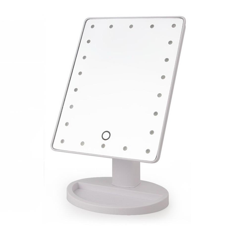 Сенсорное настольное зеркало для макияжа Magic Makeup с LED подсветкой белое