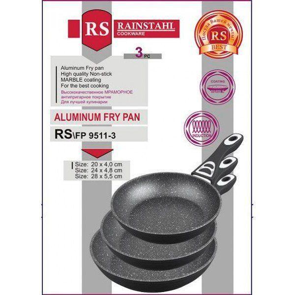 Набор сковородок RAINSTAHL RS-9511-3 с гранитным покрытием (20 см,24 см, 28 см)