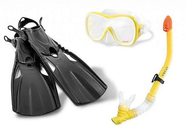 Набор для плавания (маска+трубка+ласты) INTEX (55658)