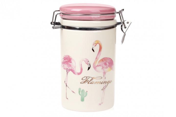 Банка на металлической затяжке 900 мл Розовый Фламинго Bona Di BonaDi (DM-007-FL)