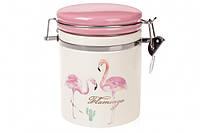 Банка на металлической затяжке 600 мл Розовый Фламинго Bona Di DM-005-FL
