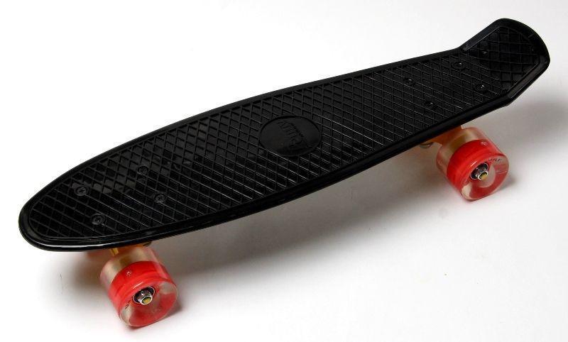 Пенни борд, Penny Board. Black. Светящиеся красные колеса.