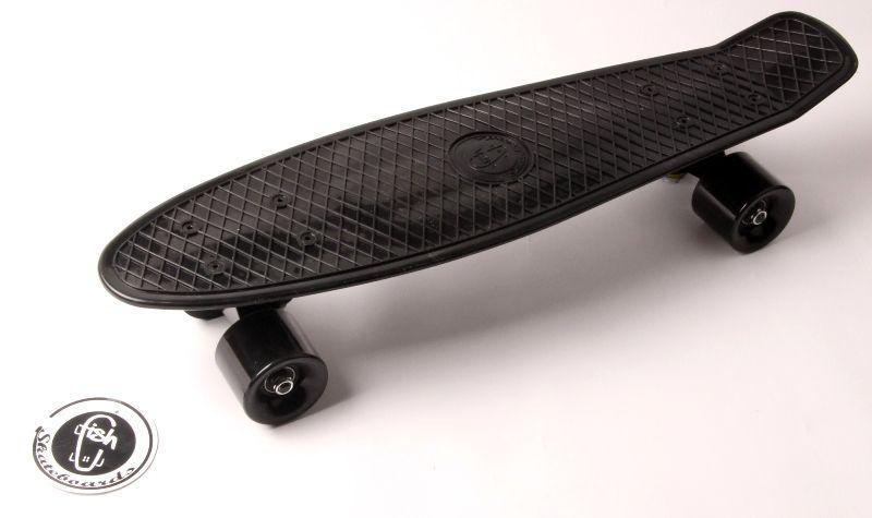 """Пенни борд, Penny Board """"Fish"""" Черный цвет. Матовые колеса"""