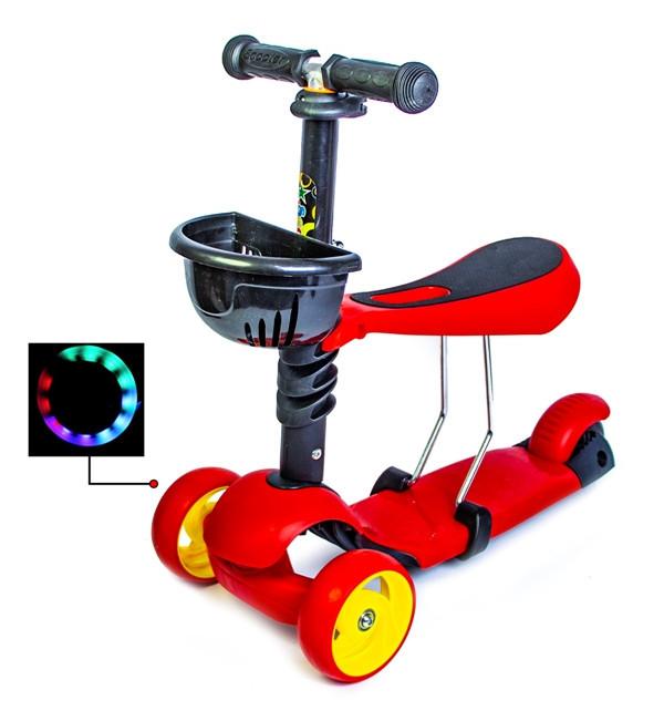 Самокат Scooter Smart 3in1. Красный цвет. (Смарт-колеса!) с сиденьем и родительской ручкой