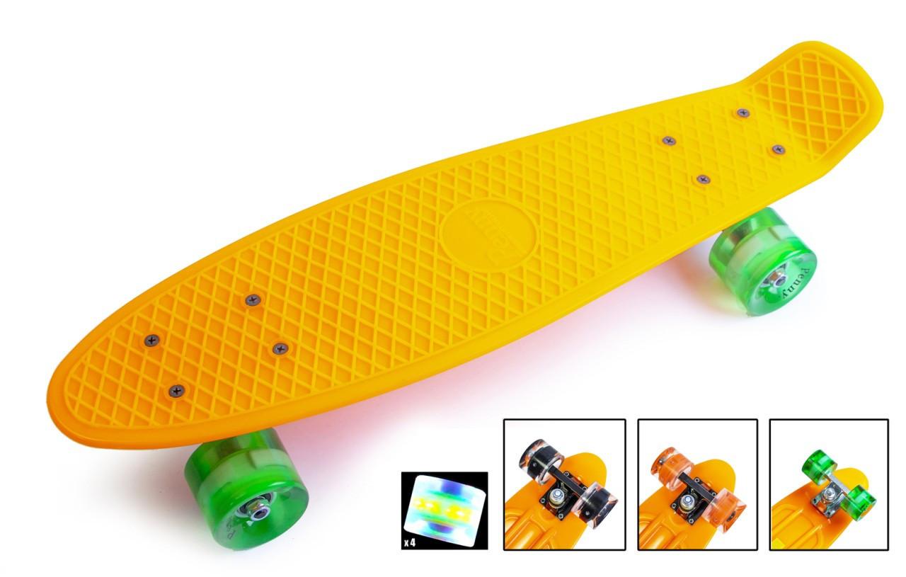 Пенни борд, Скейт Penny Boarde Orange Светящиеся колеса