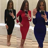 Женское деловое платье с воротником-стойка