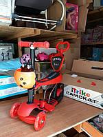 Самокат с родительской ручкой Itrike JR 3-026-B красный с оранжевой коровкой