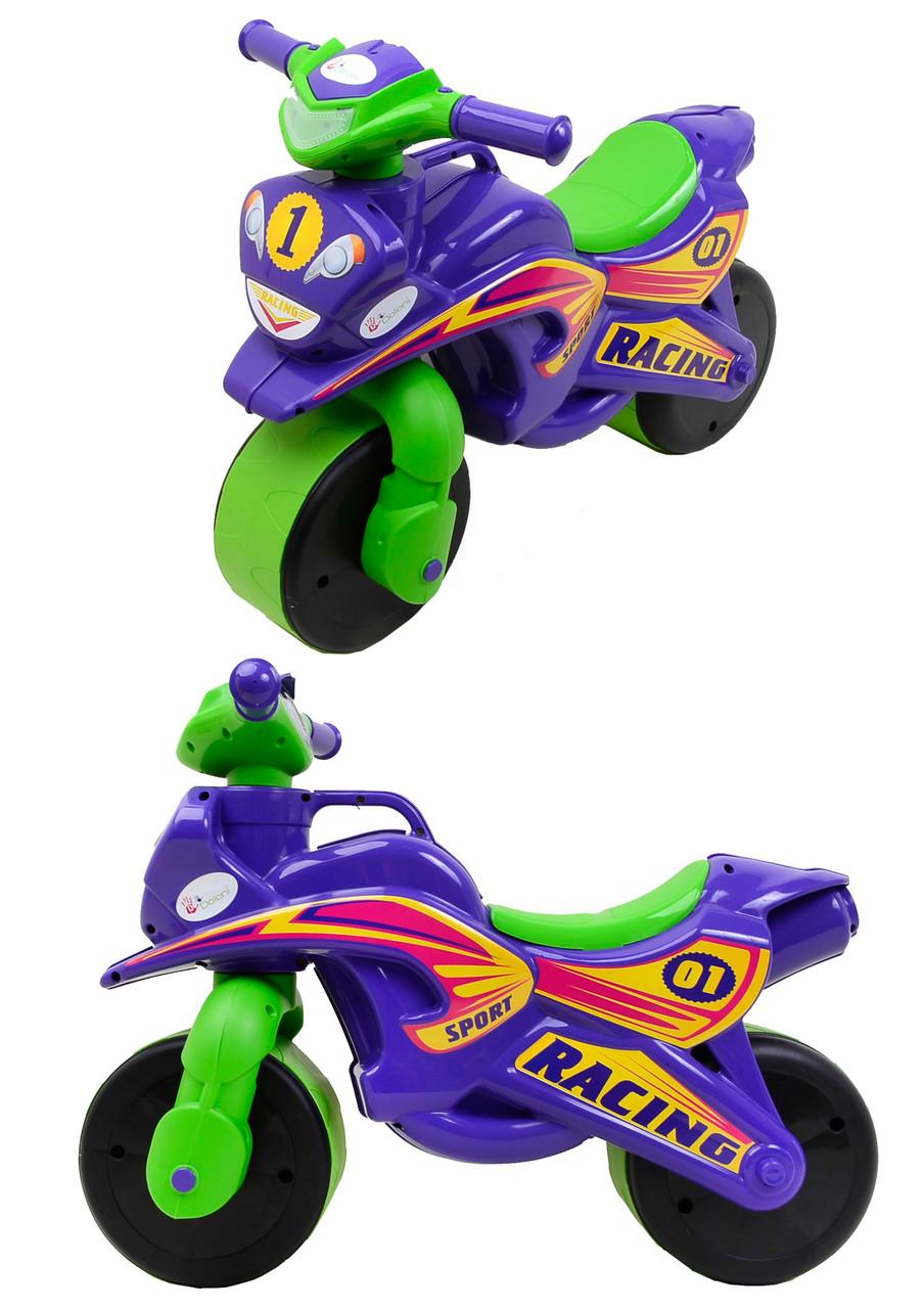 Мотоцикл-каталка МотоБайк Спорт (музыкальная) Фламинго