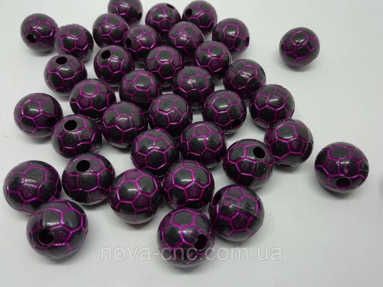 """Намистини """"М'яч"""" пластик чорний з малиновим 8 мм 500 грам"""