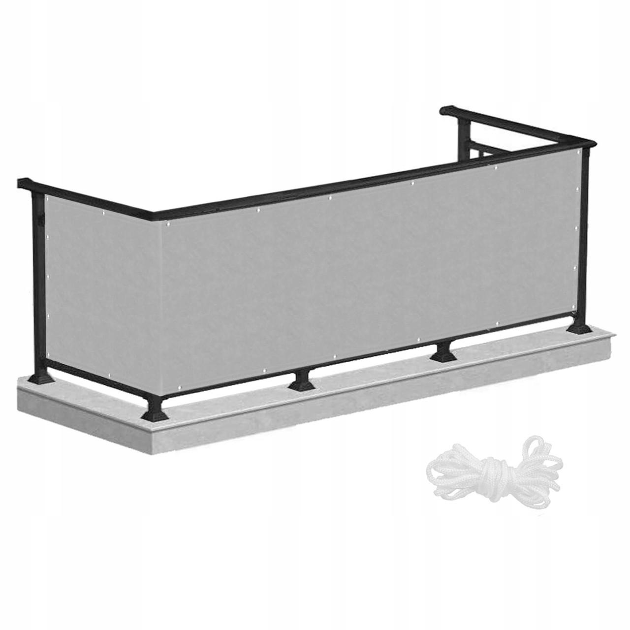 Ширма для балкона (балконный занавес) Springos 1 x 5 м BN1010 Grey для дома, дачи и квартиры