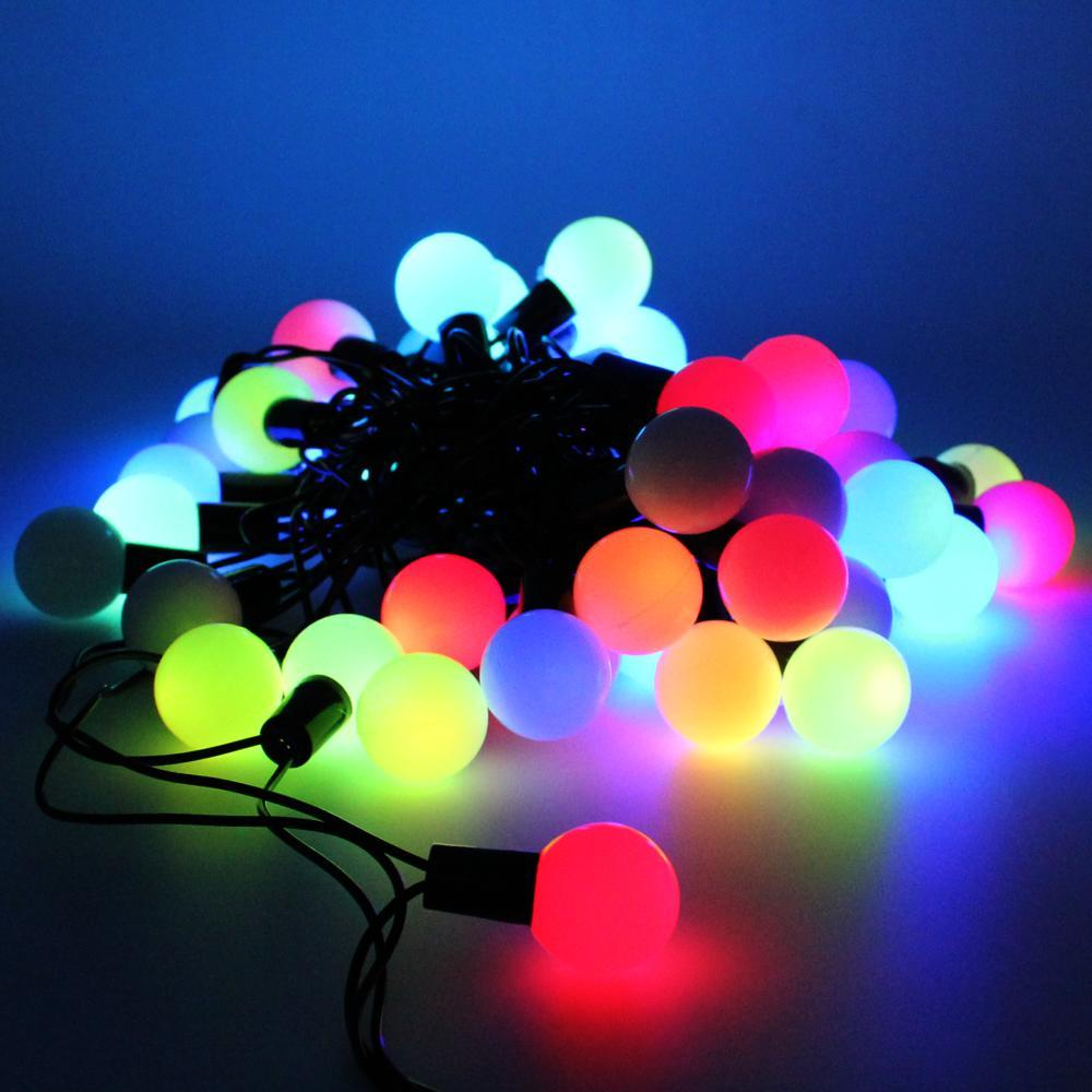 Гирлянда чёрный шнур шарики твинки большие 28 ламп