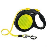 Поводок-рулетка для собак больших пород Флекси Flexi Neon лента 5м до 50кг веса.