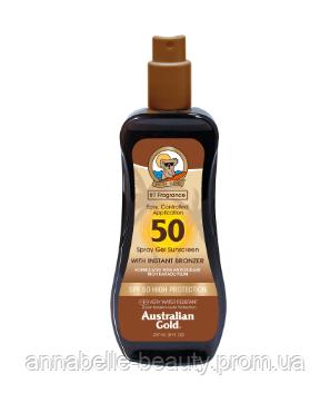 Australian Gold SPF 50 Spray Gel Bronzer - Солнцезащитный спрей-гель для загара на солнце с бронзатором 237мл